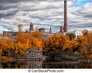 Bates Mill Lewiston Maine - Fall colors along the...