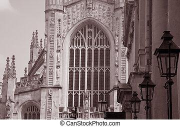 Bath Abbey Church in Black and White Sepia Tone, Bath, England, UK