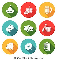 Bath Accessories Icons Set. Vector Illustration.
