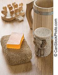 bath accessories on wooden background