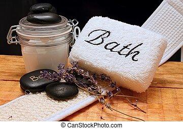 Bath and lava stones
