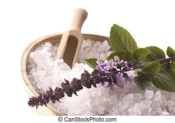 bath., aroma, mar, albahaca, flores, sal