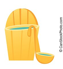 Bath barrel with ladle vector cartoon illustration