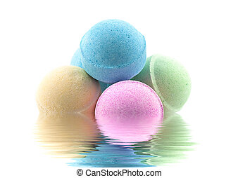 Bath bombs in the water