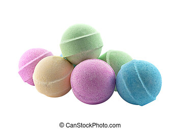 Bath bombs, isolated on the white background