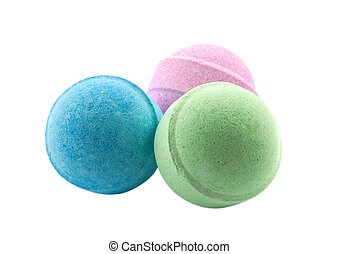 Bath bombs - Three bath bombs, isolated on the white...