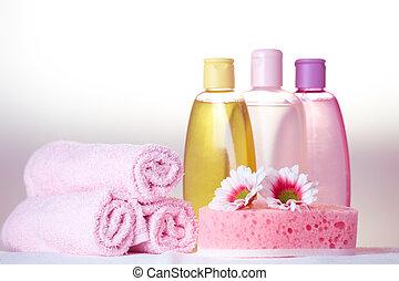 Bath care cosmetics - Bath care objects. Olive, shampoo,...