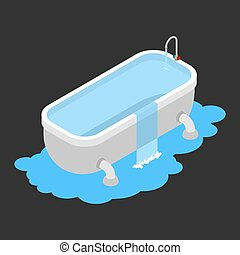 Bath clogged. Leakage canalization. Water on floor. Isometric style vector