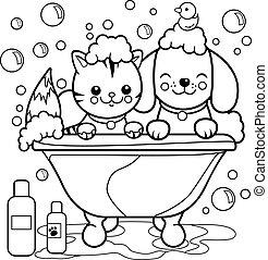 bath., coloration, prendre, chien, chat, vecteur, noir, blanc, baquet, page