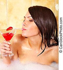 bath., donna rilassa