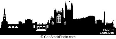 Bath England skyline. Detailed silhouette