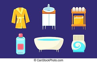 Bath Equipment and Accessories Set, Bathroom Interior Design Elements Vector Illustration