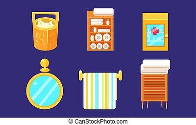 Bath Equipment and Accessories Set, Bathroom Interior with Furniture Vector Illustration