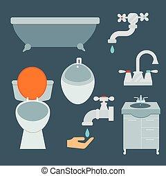 Bath equipment icon toilet bowl bathroom clean flat style ...