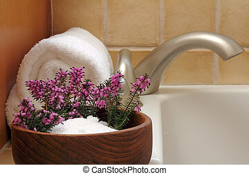 Bath Flowers - Epsom salts in a teak wood bowl with purple...