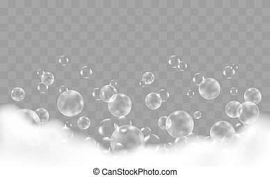 Bath Foam With Bubbles Over Checkered Background