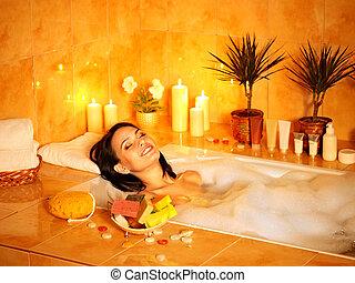 bath., frau, blase, nehmen