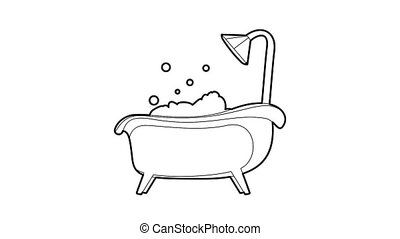 Bath icon animation best outline object on white background