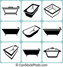 Bath Icons Set Vector