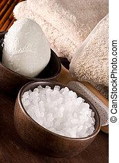 Bath items: bath salt, soap, pumice stone, towels