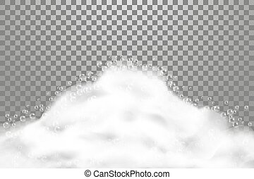 Bath lather realistic illustrarion on transparent background. Soap foam with shampoo bubbles, suds texture, vector illustration