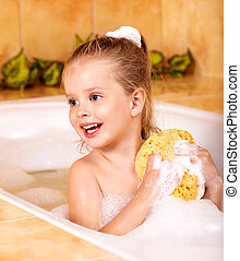 bath., lavando, criança