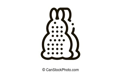 bath layer in rabbit form Icon Animation. black bath layer in rabbit form animated icon on white background