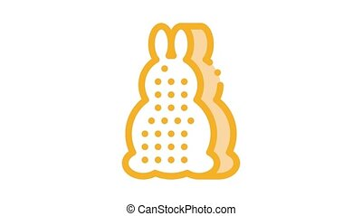 bath layer in rabbit form Icon Animation. color bath layer in rabbit form animated icon on white background