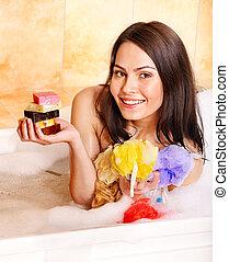bath., mulher, bolha, tomar