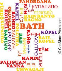 Bath multilanguage wordcloud background concept