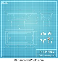 Bath outline. Front, side and top view. Vector illustration on blueprint background