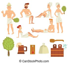 Young couple relaxing in spa health care concept bath people brushing vector.