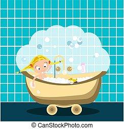 bath., peu, illustration., lotissements, prendre, duck., vecteur, bulles, girl