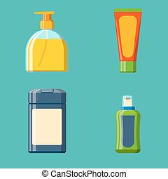Bath plastic bottle shampoo container shower flat style illustration for bathroom vector hygiene design.