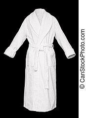 Bath robe - White fresh bath robe isolated on black ...