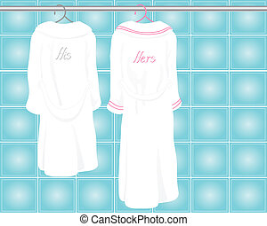 bath robes - an illustration of two his and hers white bath...