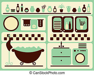 Bath room and bathing objects set.