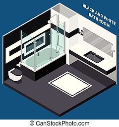 Bath Room Isometric Composition