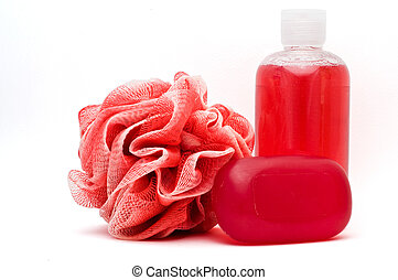 Bath rose, shower gel and soap bar isolated on white