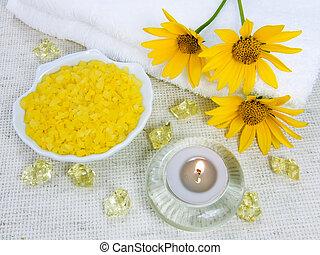 Bath salt and aroma candle