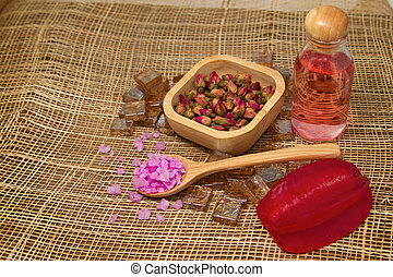 Bath salt and essential rose oils