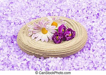 Bath salt and flowers