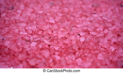 bath salt background - Closeup of pink sea salt crystals for...