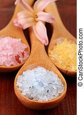 Bath salt in wooden spoons