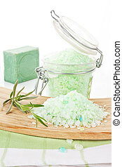 Bath salt. Wellness background.