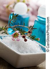 Bath salt - White bath salt with branch of pink flower
