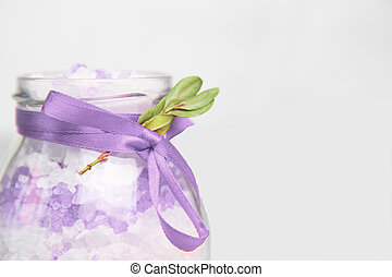 bath salt with extract of lavender. Lavander sea salt in a glass jar . Organic Natural Cosmetics