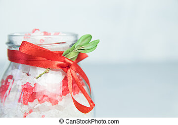 bath salt with extract of orange. Lavander sea salt in a glass jar . Organic Natural Cosmetics