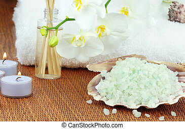 Bath Salts and Candles - Bath salts and essential oils with...