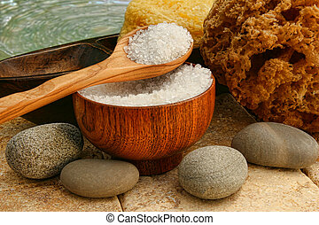 Sea bath salts with river rocks and sponges